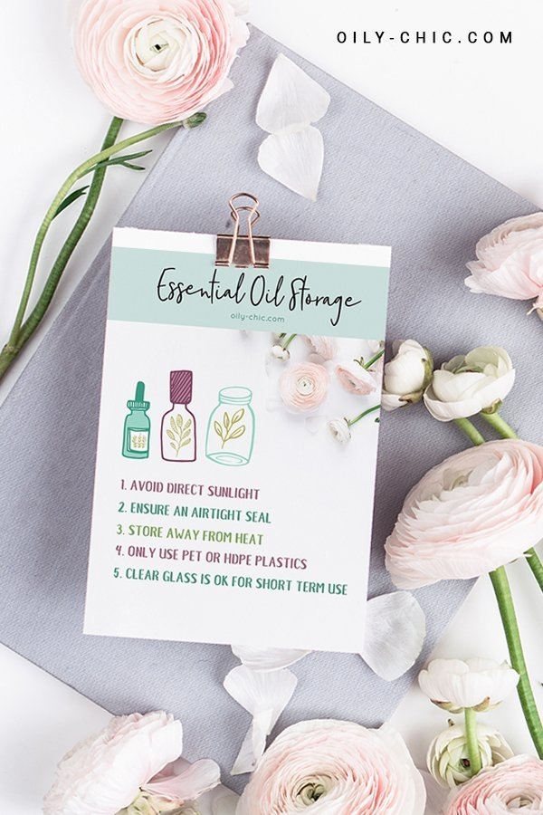 oily chic printable essential oil storage guide printable